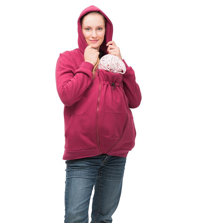 MAMALILA - GILET ZIPPÉ FUCHSIA de grossesse et portage en coton biologique