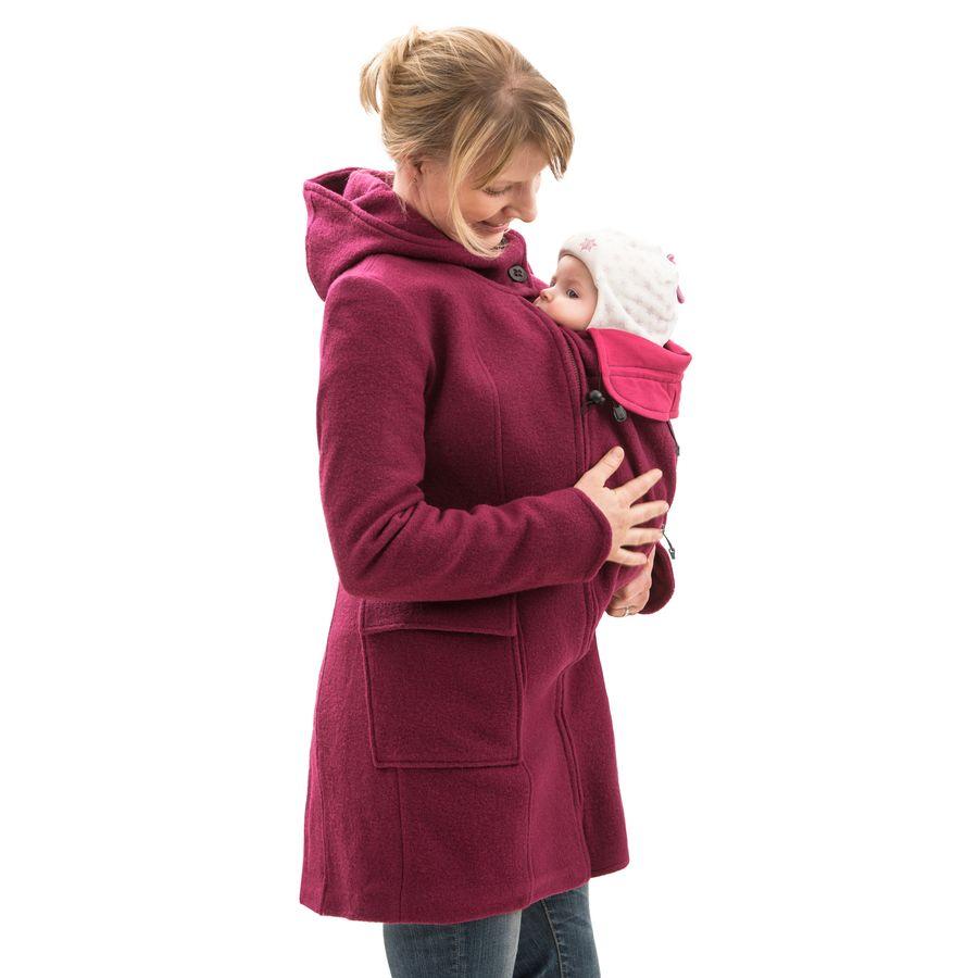 MAMALILA MANTEAU de grossesse et portage en LAINE – FUCHSIA- Empiècements inclus