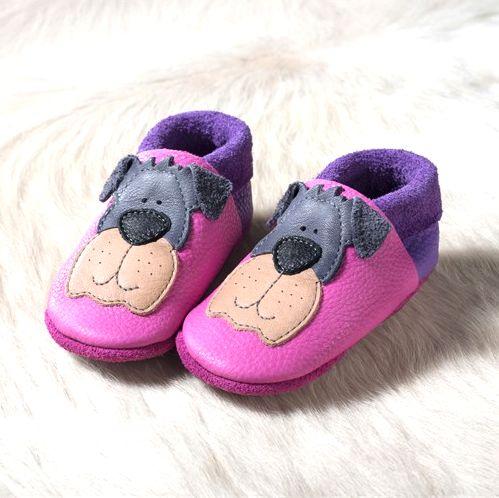 POLOLO SOFT - Chaussons souples en cuir naturel de tannage végétal pour bébés et bambins (16 à 27) NOUVEAU – Chausson Pololo EDDY LE CHIEN – fuchsia (18 à 27)