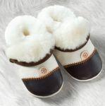 POLOLO SOFT - Chaussons souples en cuir naturel de tannage végétal pour bébés et bambins (16 à 27)/Chausson Pololo DOUCEUR MARRON - en peau d'agneau