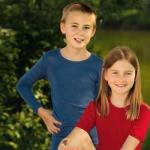 SOUS-VÊTEMENTS pour bébés et enfants/SOUS-PULL et LEGGINGS BLEU en Laine/soie (86-152)
