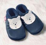POLOLO SOFT - Chaussons souples en cuir naturel de tannage végétal pour bébés et bambins (16 à 27)/Chausson Pololo KITTY bleu (18 à 33)
