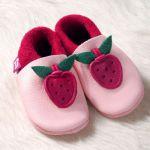FINS DE SERIES - Chaussons Pololo  en cuir naturel pour toute la famille/Chausson Pololo BERRY rose (18 à 27)