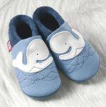 POLOLO SOFT - Chaussons souples en cuir naturel de tannage végétal pour bébés et bambins (16 à 27)/Chausson Pololo BALEINE MOBY  bleu ciel (18 à 27)