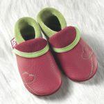 FINS DE SERIES - Chaussons Pololo  en cuir naturel pour toute la famille/Chausson Pololo SUNSHINE framboise-vert  (18 à 33)