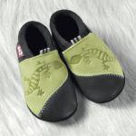 POLOLO SOFT - Chaussons souples en cuir naturel de tannage végétal pour enfants (24 à 39)/Chausson Pololo GECKO vert-bleu (18 à 33)