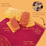 Idées Cadeaux/ «FLEUR DE VIE» RUBIS – CORAIL – SERVIETTES avec pierres précieusees
