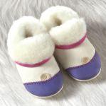 POLOLO SOFT - Chaussons souples en cuir naturel de tannage végétal pour bébés et bambins (16 à 27)/Chausson Pololo DOUCEUR VIOLET - en peau d'agneau