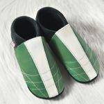POLOLO SOFT - Chaussons souples en cuir naturel de tannage végétal pour enfants (24 à 39)/Chausson Pololo SOCCER VERT (24 à 45)