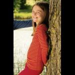 SOUS-VÊTEMENTS pour bébés et enfants/SOUS-PULL manches longues à RAYURES ROUGE-ORANGE en LAINE et SOIE (86-140)