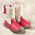 POLOLO MAXI - chaussures pour enfants en cuir écologique  du 24 au 34/Pololo – Bottes YETI  ROUGE-ECRU (24 au 34)