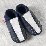 POLOLO SOFT - Chaussons souples en cuir naturel de tannage végétal pour bébés et bambins (16 à 27)/Chausson Pololo MINISOCCER bleu (18 à 29)