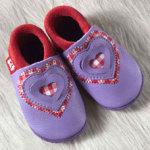 FINS DE SERIES - Chaussons Pololo  en cuir naturel pour toute la famille/Chausson Pololo SWEETHEART vichy (18 à 27)