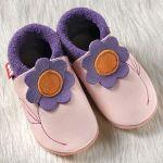 FINS DE SERIES - Chaussons Pololo  en cuir naturel pour toute la famille/Chausson Pololo JASMINE Rose-Lilas (18 à 27)