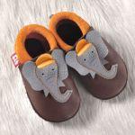 FINS DE SERIES - Chaussons Pololo  en cuir naturel pour toute la famille/Chausson Pololo ELEPHANT Coco – Mangue (18 à 27)