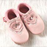 POLOLO SOFT - Chaussons souples en cuir naturel de tannage végétal pour bébés et bambins (16 à 27)/Chausson Pololo SWEETHEART Rosé (18 à 27)