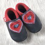 POLOLO SOFT - Chaussons souples en cuir naturel de tannage végétal pour bébés et bambins (16 à 27)/Chausson Pololo SWEETHEART Gentiane/Fraise (18 à 27)