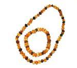 PARURES en AMBRE/PARURE Bracelet et collier d'ambre BAROQUE