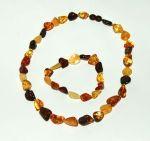 PARURES en AMBRE/PARURE Bracelet et collier d'ambre PETITS GALETS