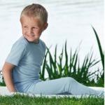 SOUS-VÊTEMENTS pour bébés et enfants/SOUS-PULL et LEGGINGS BLEU CIEL en Laine/soie (86-140)