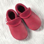 POLOLO SOFT - Chaussons souples en cuir naturel de tannage végétal pour enfants (24 à 39)/Chausson Pololo CLASSIC BERRY ROUGE (18 à 33)