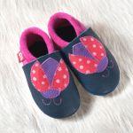 POLOLO SOFT - Chaussons souples en cuir naturel de tannage végétal pour bébés et bambins (16 à 27)/Chausson Pololo COCCINELLE BLEU-ROUGE (18 à 27)