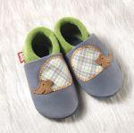 POLOLO SOFT - Chaussons souples en cuir naturel de tannage végétal pour bébés et bambins (16 à 27)/Chausson Pololo HERISSON GRAPHITE (18 à 27)