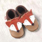 POLOLO SOFT - Chaussons souples en cuir naturel de tannage végétal pour bébés et bambins (16 à 27)/Chausson Pololo RENARD (18 à 27)