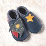 POLOLO SOFT - Chaussons souples en cuir naturel de tannage végétal pour bébés et bambins (16 à 27)/Chausson Pololo FUSEE D'ESPACE (18 à 27)