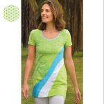 T-Shirt long WAVING MANDALAS – KIWI-TURQUOISE