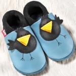 POLOLO SOFT - Chaussons souples en cuir naturel de tannage végétal pour bébés et bambins (16 à 27)/Chausson Pololo PIOU PIOU (18-27)
