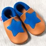 POLOLO SOFT - Chaussons souples en cuir naturel de tannage végétal pour enfants (24 à 39)/Chausson Pololo PETITE ETOILE Eté Indien-Bleu  (18-33)