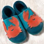 POLOLO SOFT - Chaussons souples en cuir naturel de tannage végétal pour bébés et bambins (16 à 27)/Chausson Pololo FREDDY LE CRABE – Bleu Caraïbes  (18-27)