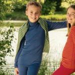SOUS-VÊTEMENTS pour bébés et enfants/COL ROULE BLEU en laine/soie (tailles 86-140)