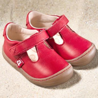 POLOLO PREMIERS PAS - Chaussures bébé  en cuir naturel à semelle souple (19-24) POLOLO - PEDRO Rouge  - Sandales premiers pas à semelles souples