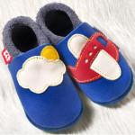 POLOLO SOFT - Chaussons souples en cuir naturel de tannage végétal pour bébés et bambins (16 à 27)/Chausson Pololo AVION (18 à 27)