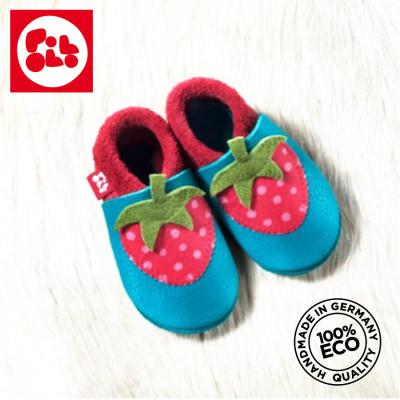 POLOLO SOFT - Chaussons souples en cuir naturel de tannage végétal pour bébés et bambins (16 à 27) Chausson Pololo FRAISE (18 à 27)
