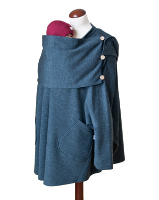 Vêtement de portage et de grossesse MaM AISKA PONCHO LAINE - DARK HEATHER GREY - Poncho de portage