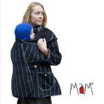 Vêtement de portage et de grossesse/MaM MOTHERHOOD COAT – SILVER STRIPE – Veste de maternité Portage Ventre/Dos Polaire Imperméable