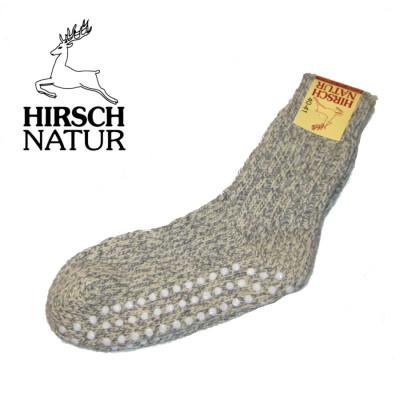 POLOLO - Chaussons souples en cuir naturel Chaussettes antidérapantes en laine pour adultes - GRIS MELANGE