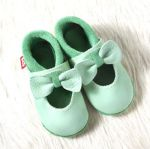 POLOLO SOFT - Chaussons souples en cuir naturel de tannage végétal pour bébés et bambins (16 à 27)/Chausson Pololo BALLERINA menthe (18-23)