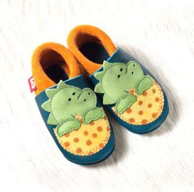 POLOLO SOFT - Chaussons souples en cuir naturel de tannage végétal pour bébés et bambins (16 à 27) Chausson Pololo DINO bleu-jaune (18 à 27)