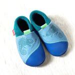 POLOLO SOFT - Chaussons souples en cuir naturel de tannage végétal pour bébés et bambins (16 à 27)/Chausson Pololo CHAMELEON bleu (18 à 27)
