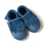 POLOLO SOFT - Chaussons souples en cuir naturel de tannage végétal pour enfants (24 à 39)/Chausson Pololo BIO – MOCASSIN bleu (18 à 33)