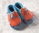 POLOLO SOFT - Chaussons souples en cuir naturel de tannage végétal pour bébés et bambins (16 à 27)/Chausson Pololo FREDDY LE CRABE (18 à 27)
