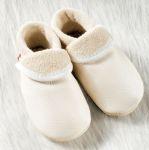 POLOLO SOFT - Chaussons souples en cuir naturel de tannage végétal pour bébés et bambins (16 à 27)/Chausson Pololo BAPTÊME blanc (16 à 23)