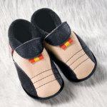 FINS DE SERIES - Chaussons Pololo  en cuir naturel pour toute la famille/Chausson Pololo SPORTY noir-bahama (18/19)
