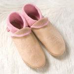 FINS DE SERIES - Chaussons Pololo  en cuir naturel pour toute la famille/Chausson Pololo FLOWER rose-nature 44/45