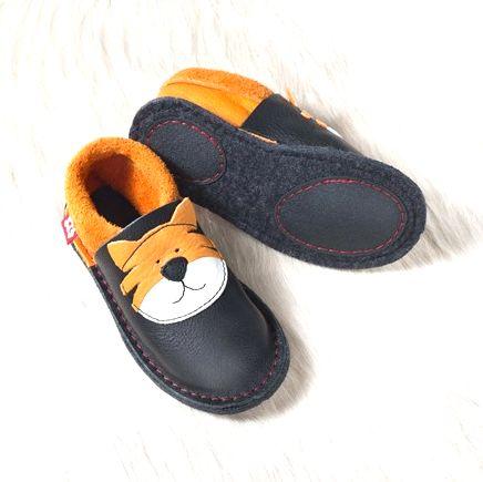 POLOLO KIGA - chaussons souples en cuir naturel avec semelle antidérappante (24-33) Chausson Pololo TIGRE TOM (24 à 33)  avec semelle antidérapante
