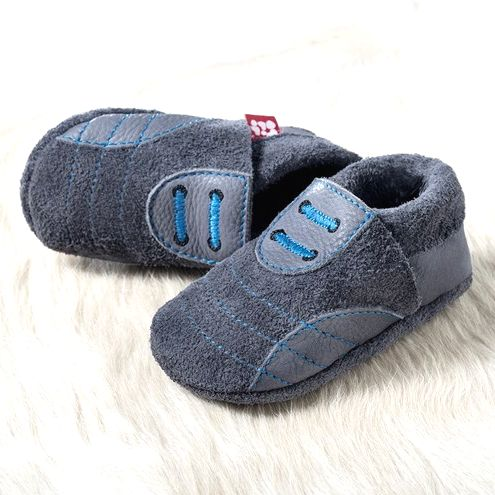 POLOLO SOFT - Chaussons souples en cuir naturel de tannage végétal pour bébés et bambins (16 à 27) Chausson Pololo SPORTY graphite-bleu (18 à 33)